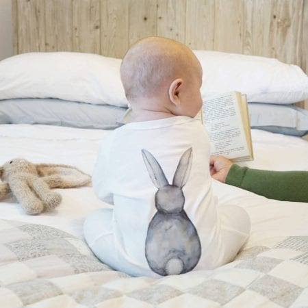 Non chocolate easter gifts bunny watercolour sleepsuit